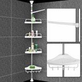 Telescopisch doucherek - Verstelbare Douche- en badrekje   155- 304 cm met extra handdoekrek
