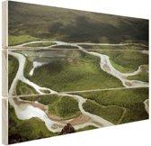 Rivierlandschap foto Hout 30x20 cm - klein - Foto print op Hout (Wanddecoratie)