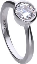 Diamonfire - Zilveren ring met steen Maat 18.5 - Steenmaat 7 mm - Kastzetting