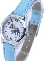 Kinder horloge- Paard- 28 mm- Licht blauw- Leer