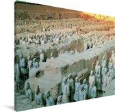 Terracotta soldaten in loopgraven mausoleum van keizer Qin Shi Huangdi in China Canvas 160x120 cm - Foto print op Canvas schilderij (Wanddecoratie woonkamer / slaapkamer) XXL / Groot formaat!