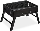 relaxdays draagbare barbecue camping - 4 personen - balkon BBQ - stalen rechthoekige grill