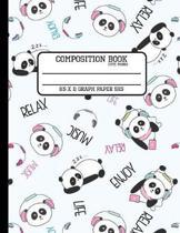 Composition Book Cute Panda Graph Paper 5x5