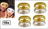 10x Oogmasker domino goud/zilver