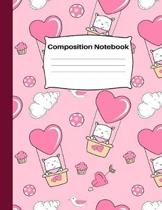 Composition Notebook: Cute Kitty Cat Heart Air Balloon: Pink Wide Ruled Lined Pages Book for School Home and Office