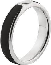 MelanO Twisted Resin Ring - Zwart/Zilverkleurig - Maat 56