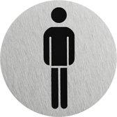 """Aluminium deurbordje """" pictogram heren WC """" Ø75mm"""