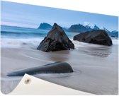 Zandstrand Tuinposter 120x80 cm - Tuindoek / Buitencanvas / Schilderijen voor buiten (tuin decoratie) / Zee en Strand