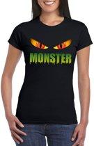 Halloween monster ogen t-shirt zwart dames - Halloween kostuum S