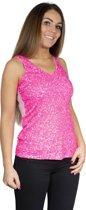 Hemd / topje pailletten neon pink