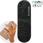 MOMO STICK / MOMOSTICK – verstelbare flexibele GSM vingerhouder / Telefoonring grip / vingerhouder / telefoonring standaard / selfiehouder / telefoonhouder / ringhouder / telefoonstandaard – GLITTER & ZWART