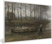 Foto in lijst - De zandschipper - Schilderij van Jozef Israëls fotolijst wit 60x40 cm - Poster in lijst (Wanddecoratie woonkamer / slaapkamer)