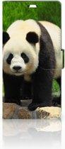 Sony Xperia C5 Ultra Uniek Boekhoesje Panda Met Opbergvakjes
