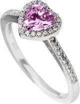 Diamonfire - Zilveren ring met steen Maat 17.5 - Entourage - Hart - Roze steen
