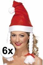 6 kerstmutsen met vlechten