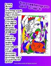 Learn about art coloring book inspired by Pablo Picasso Synthetic Cubism Collages for INDIA with 21 Original handmade drawings for adults children retirees home office retirement use to relax decorate keepsake greeting card