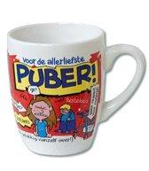 Verjaardag - Cartoon Mok - Voor de allerliefste Puber - Gevuld met een toffeemix - In cadeauverpakking met gekleurd krullint