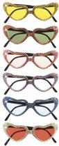 Hartvormige bril met glitters  Paars