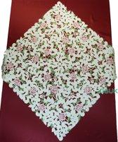 Tafelkleed - Opengewerkt met roze bloem - Vierkant  85 cm - 7662-RSZ