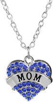 Fako Bijoux® - Ketting - Hart - Kristal - Mom - Blauw