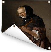 Cisterspelende vrouw - Schilderij van Jan Steen Tuinposter 120x160 cm - Tuindoek / Buitencanvas / Schilderijen voor buiten (tuin decoratie) XXL / Groot formaat!