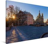 De Russische Kerk van de Verlosser op het Bloed in Europa Canvas 140x90 cm - Foto print op Canvas schilderij (Wanddecoratie woonkamer / slaapkamer)