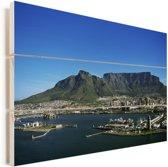 Kaapstad met op de achtergrond de Tafelberg Vurenhout met planken 90x60 cm - Foto print op Hout (Wanddecoratie)