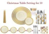 Deluxedisposables  -Luxe wegwerp eenmalig plastic tafel Serviesset voor 10 personen crème-goud + Decorative set : 20 servetten  + 2 kaarsen 24 cm  GRATIS !