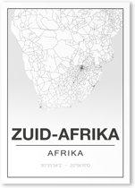 Poster/plattegrond ZUID-AFRIKA - 30x40cm