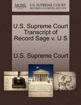 U.S. Supreme Court Transcript of Record Sage V. U S