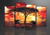 Schilderij - Afrika Dieren, Oranje, 130X80cm, 4luik