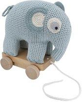 Sebra Trekspeeltje gehaakte olifant blauw