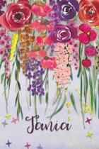 Tania: Personalized Lined Journal - Colorful Floral Waterfall (Customized Name Gifts)