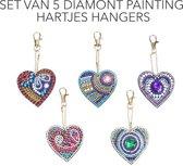 Set van 5 hartvormige sleutelhangers voor DIY diamant schilderij - diamant decoreren. Diamanten, hartvorm en sleutelhanger ring alles inbegrepen.