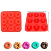 Siliconen Donut mal voor 9 donuts - Rood