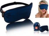 IvaLu Zijden Luxe Reis Slaapmasker - Organic Satin - Oogmasker - Verstelbare Reismasker - Zijde Nachtmasker - Slaap - Slaapbril - Yoga - Meditatie - Blinddoek - Reis - Opbergtasje - Anti Rimpel - Cadeau Tip - Blauw