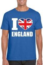 Blauw I love England supporter shirt heren - Engeland t-shirt heren M