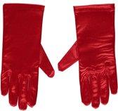 Rode gala handschoenen kort van satijn 20 cm