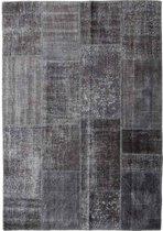 Vintage patchwork vloerkleed antracietgrijs - Afmeting: 240 x 167
