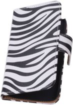 Wicked Narwal | Zebra bookstyle / book case/ wallet case voor Alcatel One Touch Idol OT-6030 Wit
