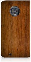 Motorola Moto G6 Uniek Standcase Hoesje Donker Hout