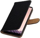 Zwart slang design book case voor Samsung Galaxy S8 Plus hoesje