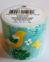 masking tape Blauw met Vogels N - decoratie washi papier tape - 48 mm x 4 m