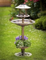Solar vogelbad met plantenbak - Brons - 105 cm