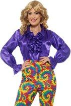 Paars Hippie Shirt Dames met Roezels | maat M ( 40 - 42 )
