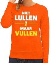 Niet Lullen maar Vullen tekst sweater oranje voor dames 2XL
