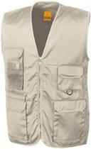 Outdoor/werk bodywarmer beige voor heren - Outdoorkleding/werkkleding - Mouwloze vissers/tuinier vesten L (42/52)