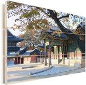 Mooi hangende boom over de paleizen bij Changdeokgung Vurenhout met planken 120x80 cm - Foto print op Hout (Wanddecoratie)