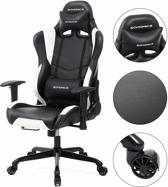 Game Stoel – Gaming Chair – Verstelbare Kussens – Wijde rugleuning - Zwart met Wit