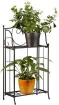 relaxdays - plantenrek metaal - bloemenrek - opbergrek voor buiten - 2 etages